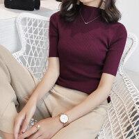 纯羊毛毛衣女秋冬新款修身半高领五分袖紧身短袖打底针织衫