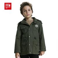 jjlkids季季乐童装男童防风长款加绒外套中大童风衣英伦风儿童大衣BQW51071