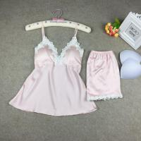 性感吊带睡衣带胸垫两件套冰丝大码女士睡衣套装夏天薄款 粉红色 棉花边套装