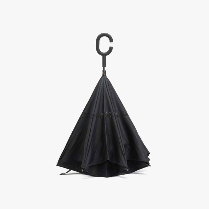 【任选3件4折,2件5折】当当优品 创意双层长柄反向晴雨伞 汽车免持式反骨直杆伞 黑色当当自营 创新反向设计 C型免持手柄 双层伞布 加倍防晒 汽车专用