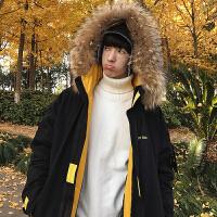 男士棉衣韩版潮流冬季中长款棉袄大毛领工装外套新款个性假两件咔叽2019羊羔军工