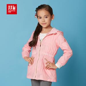 季季乐童装女童春装外套中大儿童时尚潮流风衣中长款GCW61030