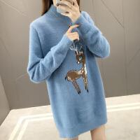 孕妇可爱小鹿中长款加厚打底毛衣高领秋冬装宽松针织衫