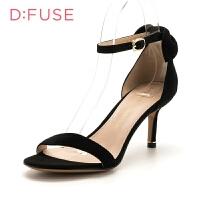 迪芙斯(D:FUSE)专柜同款绒面羊皮革细跟圆头时尚凉鞋DF82115346