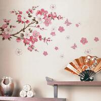 中国风古风中式桃花墙贴纸客厅卧室寝室电视背景墙装饰贴画可移除