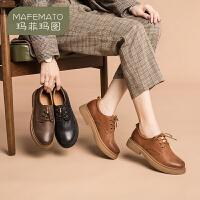 玛菲玛图英伦风小皮鞋女2020春季新款原宿日系女鞋黑色低跟单鞋学院德比鞋688-7SH
