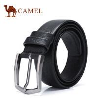 Camel骆驼新款男士牛皮皮带 休闲简约锌合金针扣男腰带