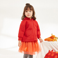 【双12年终大促2件3折后到手价:149.7元】马拉丁童装女小童风衣2019春装新款新年装洋气抽皱红色儿童外套
