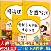 2021年新版小学二年级下册看拼音写词语+阅读理解+看图写话说话人教版共3册语文拼音专项训练默写能手一课一练同步训练书部