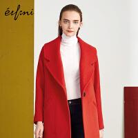 伊芙丽冬装红色加棉加厚毛呢外套女中长款翻领宽松呢大衣