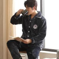 珊瑚绒睡衣男冬季法兰绒加厚加绒保暖秋冬青年开衫男士家居服套装
