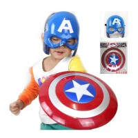 万圣节儿童卡通动漫发光面具声光美国队长盾牌玩具COS武器道具男