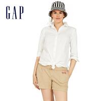 [3件享2.5折价:75元]Gap孕妇装白色休闲长袖衬衫696087 基础款上衣女士翻领长款衬衣