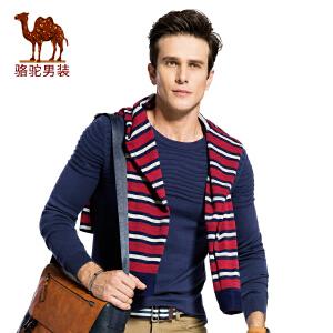 骆驼男装 秋季新款圆领修身男士上衣休闲百搭毛衣