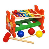 老虎音乐打球台 多功能打球台 木质 早教 音乐 玩具 敲敲乐