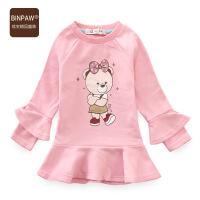 【400-200】女宝宝短款连衣裙 BINPAW童装女童秋装全棉泡泡袖圆领T恤上衣裙