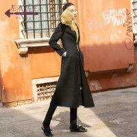 生活在左2019秋冬女装新款黑色中式盘扣收腰显瘦中长款双面呢外套