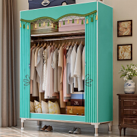 索尔诺 简易衣柜加固25mm钢管加厚加粗防潮底脚双人衣柜大空间简易组装衣柜收纳柜子