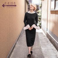 生活在左2019秋季女装新品黑色圆领荷叶袖宽松中长款毛织连衣裙子