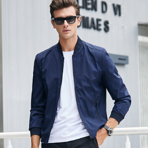【限量抢购,好质量】秋装男士休闲外套印花薄款立领夹克衫青年宽松大码拉链开衫外套男