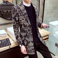 秋冬季男士风衣潮男修身毛呢大衣青年中长款千鸟格休闲外套