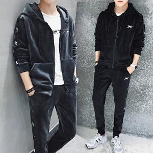 2018秋季男士卫衣青年金丝绒运动服套装连帽休闲两件套