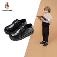 【3折价:189.3元】暇步士Hush Puppies童鞋儿童皮鞋真皮2020秋季新品中童男女童英伦风黑色软底皮鞋演出鞋