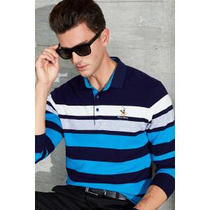 秋季新款男式T恤长袖翻领商务休息条纹体恤衫POLO衫长袖男