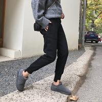 冬季加绒加厚九分运动裤女小脚外穿宽松卫裤大码显瘦休闲裤哈伦裤