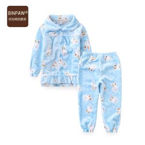 【满200-110】女童法兰绒睡衣套装 加绒加厚开衫儿童家居服 童装冬季两件套睡衣
