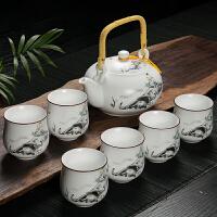 陶瓷7头提梁壶套功夫茶具 茶壶茶海整套茶具套装