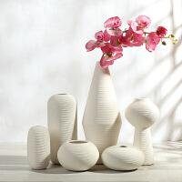 陶瓷白色花瓶摆件 现代简约创意客厅家居软装饰品 大小插花花器