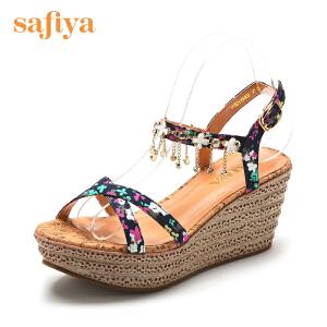 【3折到手价101.7元】Safiya/索菲娅 夏款甜美款印花水钻金属链坡跟女凉鞋SF52115066