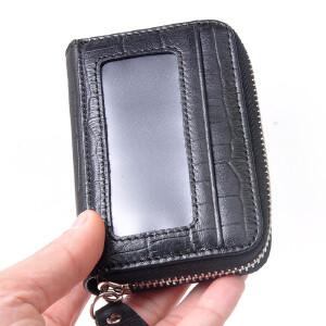 Yvonge韵歌鳄鱼纹牛皮拉链卡包风琴式卡片包名片夹男士男款卡套皮套卡夹