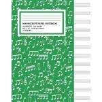 预订 Manu* Paper Notebook: Musical Notes Green Cover, 12 Staf