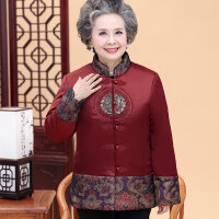 奶奶棉袄70-80岁60老年人冬装女棉衣老太太冬天加厚外套复古唐装 1XL 建议85-100斤
