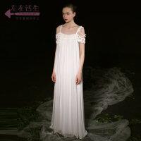 生活在左2018秋冬时装周新款女装无袖漏肩桑蚕丝一字肩真丝连衣裙