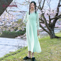 生活在左2019秋季女装新品薄荷绿长袖连衣裙V领中长款裙子两件套
