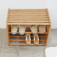 当当优品 橙舍创意多功能竹木鞋架 楠竹换鞋凳 简约现代穿鞋凳收纳储物凳