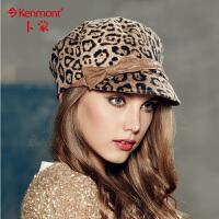 kenmont卡蒙 时尚豹纹淑女帽蓓蕾帽冬季礼帽子2250