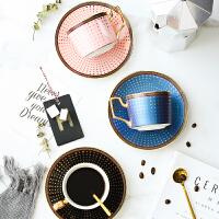 家用简约下午茶花茶杯子带勺子欧式咖啡杯碟套装英伦金边陶瓷茶杯