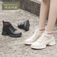 玛菲玛图2019秋冬新款女靴百搭魔术贴短靴欧美潮流休闲马丁靴2065-2