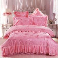 梵巢家纺 婚庆四件套大红床品床单结婚新婚1.8m贡缎床上用品六件套