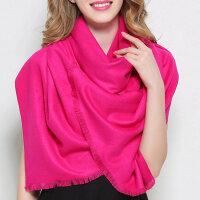 围巾女冬季长款韩版男女纯色羊毛羊绒围巾学生加厚款保暖披肩