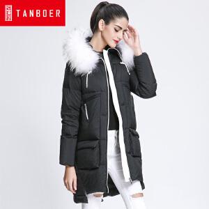 坦博尔17新款羽绒服女大毛领连韩版保暖羽绒外套女TB3696