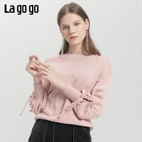Lagogo/拉谷谷2019新款灯笼袖镂空系带针织衫女ICMM438C22