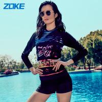 ZOKE洲克新款女士分体两件套平角裤保守长袖防晒泳装度假舒适游泳衣117601268