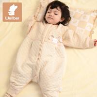 威尔贝鲁 宝宝春秋纯棉分腿睡袋 彩棉婴幼儿睡袋 新生儿童防踢被