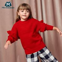 【限时2件4折】迷你巴拉巴拉女童毛衫年冬季新款宝宝荷叶边装饰柔软宽松毛衣
