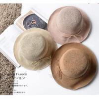 特细出游防晒拉菲草帽子 女 可折叠大檐沙滩防紫外线遮阳帽 支持礼品卡